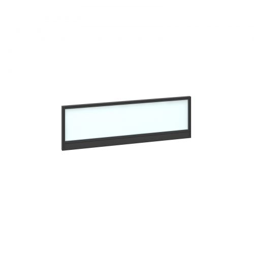 Straight glazed desktop screen 1200mm x 380mm - polar white with black aluminium frame |