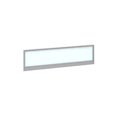 Straight glazed desktop screen 1400mm x 380mm - polar white with silver aluminium frame |