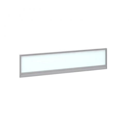 Straight glazed desktop screen 1600mm x 380mm - polar white with silver aluminium frame |