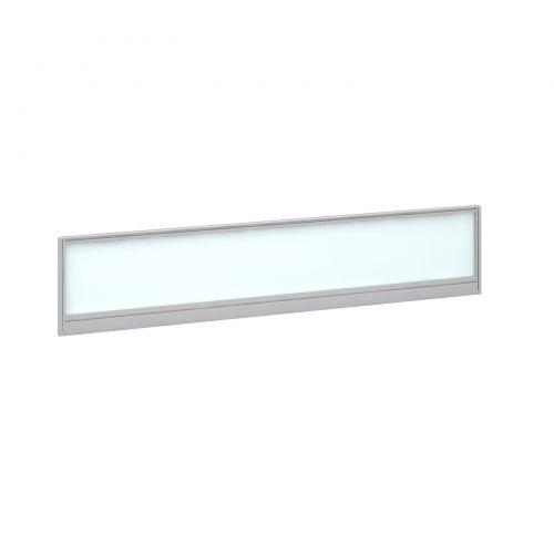 Straight glazed desktop screen 1800mm x 380mm - polar white with silver aluminium frame |