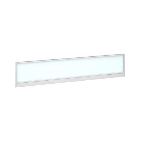Straight glazed desktop screen 1800mm x 380mm - polar white with white aluminium frame |